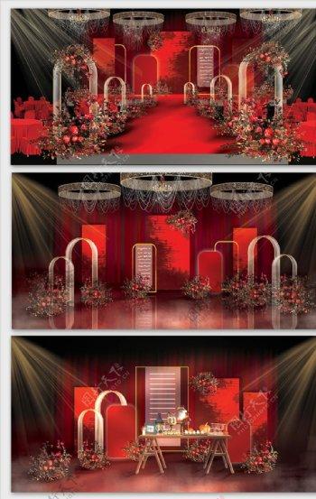 红金色欧式风格婚礼效果图图片