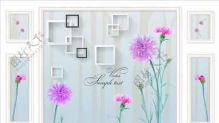 康乃馨框框欧式背景墙图片