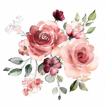 手绘花大牌印花玫瑰花图片