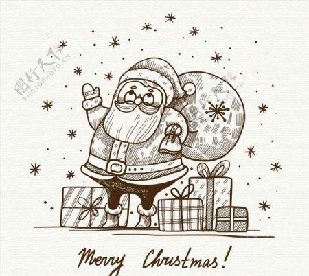 背礼包的圣诞老人图片