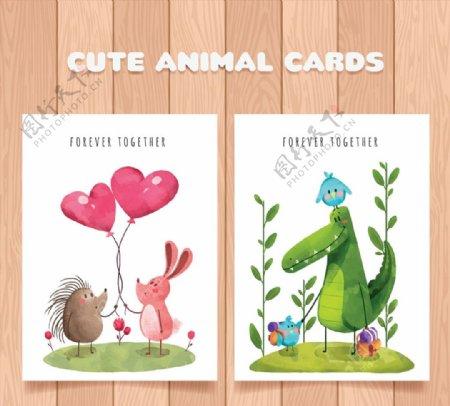 彩绘可爱动物卡片图片