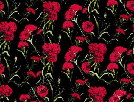 手绘花卉背景大红花图片