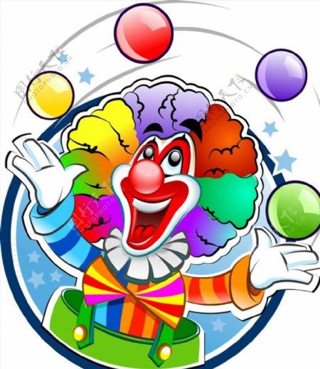 卡通玩球的小丑图片
