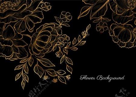 金色手绘花卉图片