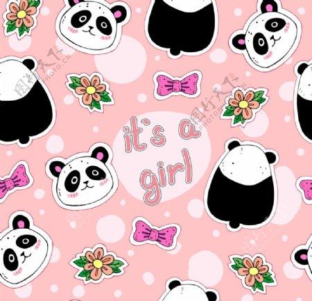 可爱女生矢量熊猫熊猫矢量背景图片