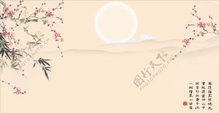 花鸟画梅花竹子背景墙图片