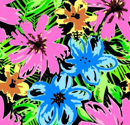 手绘花卉背景热带图片