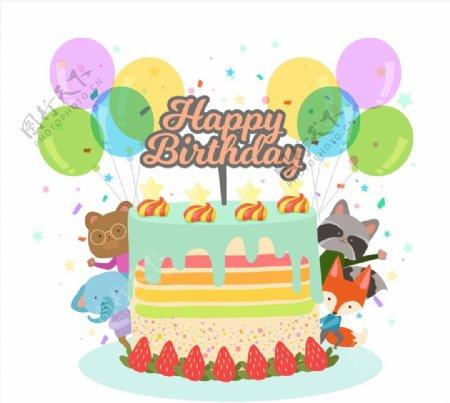 生日蛋糕和动物图片