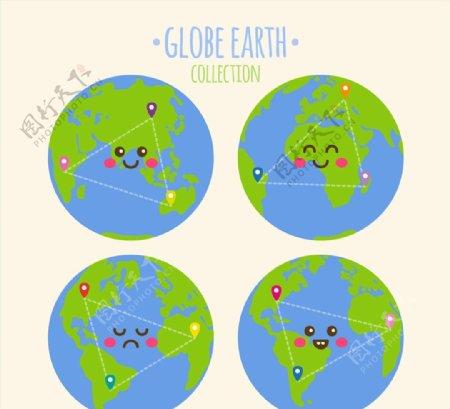 可爱表情地球矢量图片