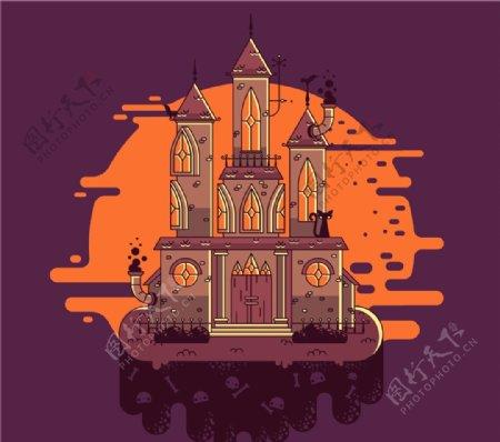 恐怖万圣夜古堡图片