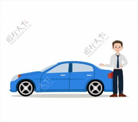 轿车和销售男子图片