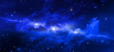蓝色星空未来背景海报素材图片