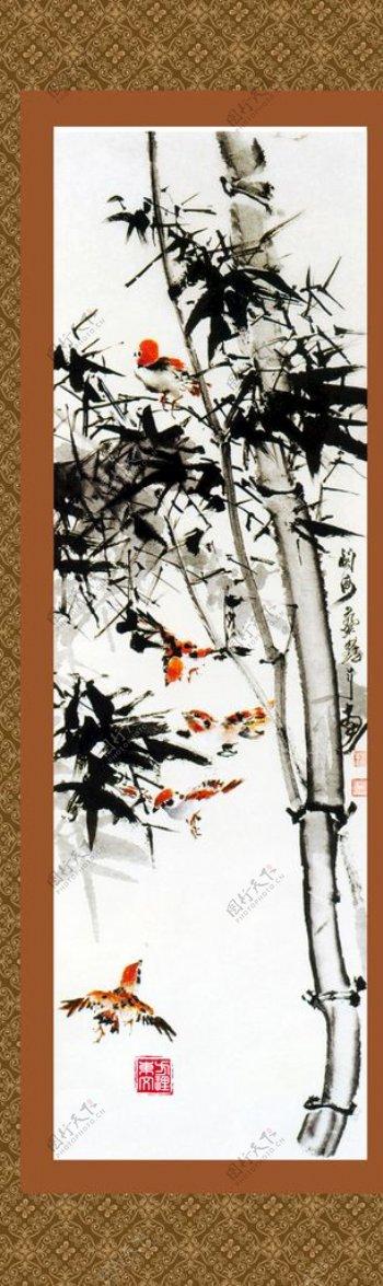 中式水墨竹子挂画图片
