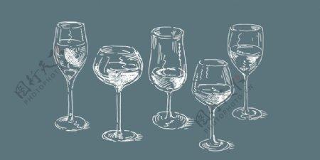 酒杯矢量图图片