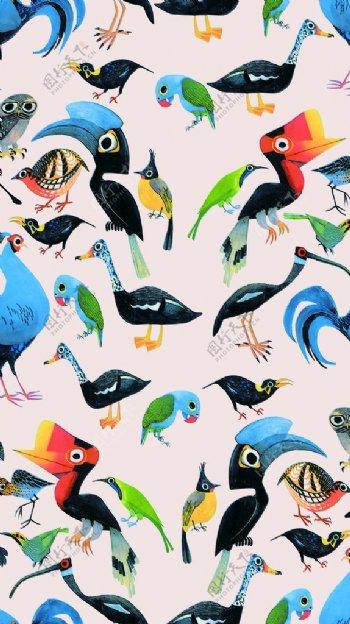 手绘鸟背景图片
