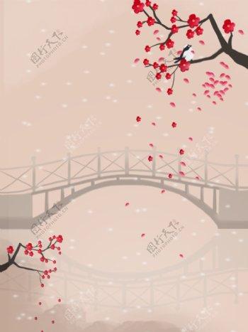 小桥流水喜鹊梅花海报图片