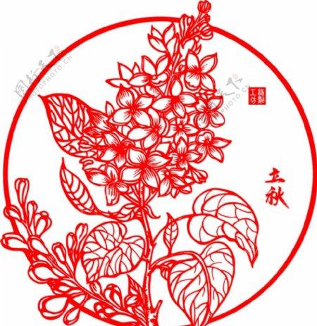 中国传统二十四节气剪纸之立秋图片