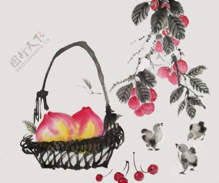 桃子水墨水彩复古背景海报素材图片