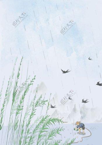 谷雨春种清新传统背景海报素材图片