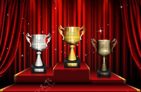 领奖台颁奖台奖杯红色窗帘背景图片