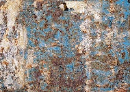蓝色老围墙图片