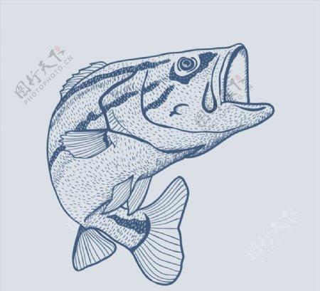 蓝色手绘鱼矢量图片