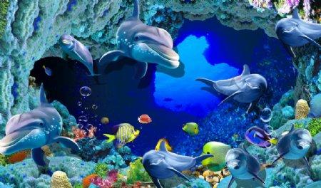 海洋动物卡通背景海报素材图片