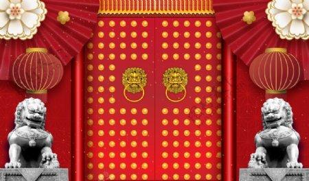 大门复古传统石狮背景素材图片