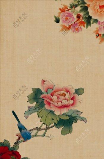 牡丹工笔画高清背景图片