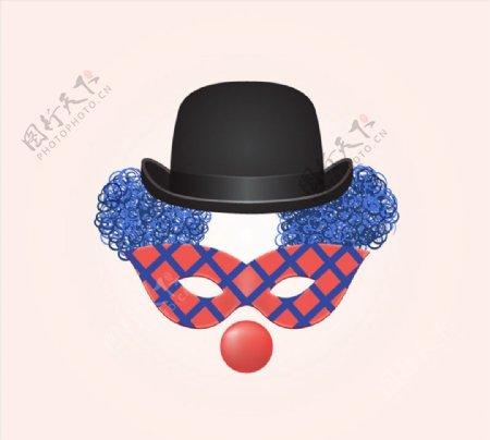 小丑面具矢量图片