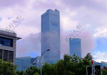 大连城市高楼平流雾图片