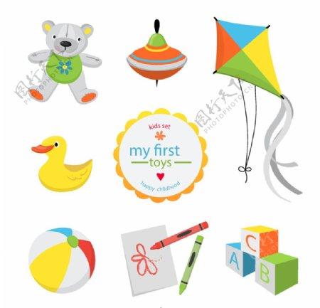 可爱儿童玩具矢量图片