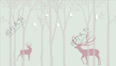 鹿树鸽子背景墙图片