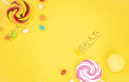 黄底果汁糖棒棒糖图片
