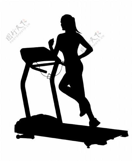 跑步机女人剪影图片