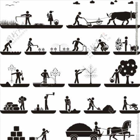 卡通人物生活小人图片