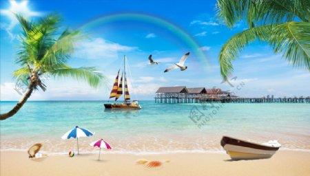 海边帆船沙滩椰树背景墙图片