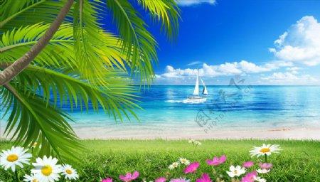 海边椰树小碎花帆船背景墙图片