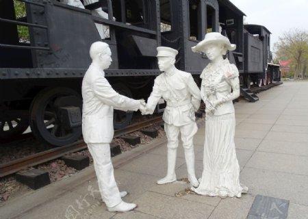 民国军人握手雕塑图片