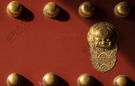 故宫红色大门图片