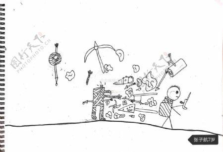 儿童简笔画子航之木乃伊世界图片
