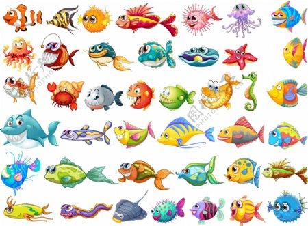 卡通海洋鱼类矢量图片