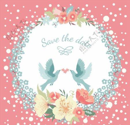 圆环花朵小鸟婚礼图片