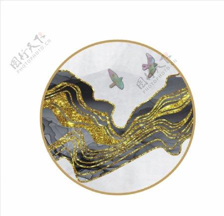 水墨画框金色线条图片
