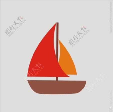 卡通船矢量船帆船图片