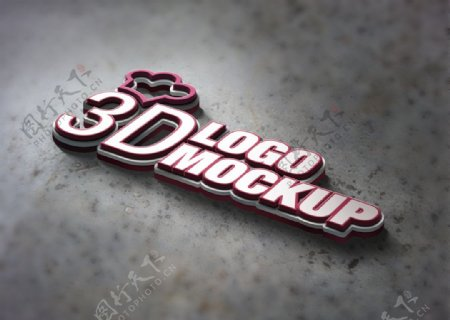3d精致logo样机图片