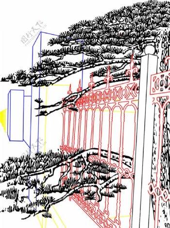 铁栅栏内的松树矢量图图片