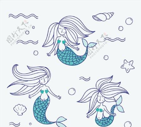 彩绘美人鱼矢量图片