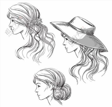 手绘发型矢量图片