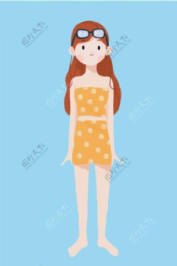 夏天戴泳镜穿泳衣的小女孩图片